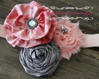 vintage rose grey baby headband, newborn headband, photography prop headband, peach silver headband