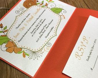 Boho Wedding Invitation - Pocket Wedding Invitation - Orange Wedding Invitation - Floral Pocket Invitation