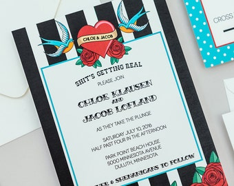 Retro Rockabilly Wedding Invitation Template,Modern Tattoo Wedding Invite  Digital Download,Heart And Swallow