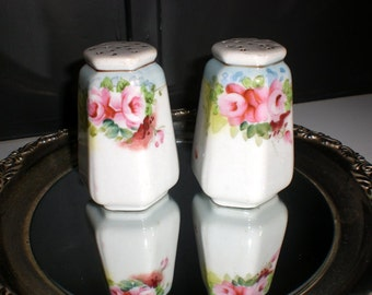 Salt and pepper shakers, China, Roses, Japan, Hand Painted