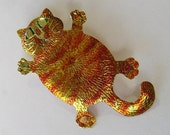 Ginger or marmalade cat brooch