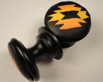 Cabinet Knobs / Pulls polymer clay 8 unique bathroom knobs decorative knobs  Metal  dresser knobs  black orange gold