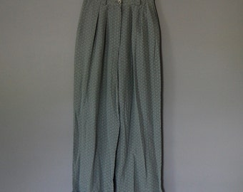 sea glass blue silk pants / roll cuff pants /  scale print silk pants / s