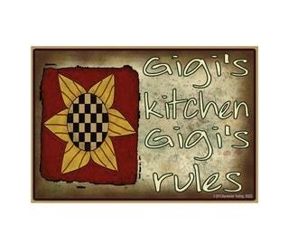 "Gigi's Kitchen, Gigi's Rules Sunflower Funny Grandmother Fridge Refrigerator Magnet 3.5"" X 2.5"""