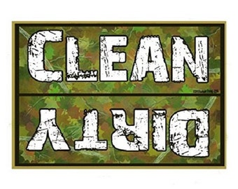 "Clean Dirty Dishes Dishwasher Green Hunter Camo Fridge Refrigerator Magnet 3.5""X2.5"""