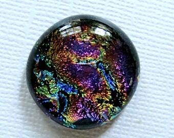 Dichroic Glass Cabochon 22 mm Purple Magenta Swirls