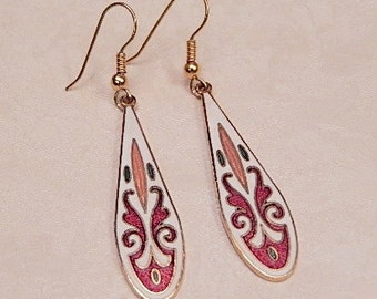 Vintage Earrings, Enamel Earrings, Long Dangles, Gift for Her