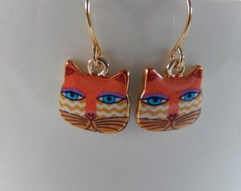 Cat Earrings,  Whimsical Earrings, Orange and Gold Cat Earrings, Gift for Her