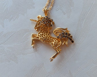 Unicorn Necklace, Vintage Necklace, Mythical Horse, Gift for Her
