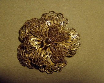 Vintage 1930s Mexico Sterling Silver Filigree Flower Pin 8502