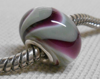 Glass Handmade Lampwork Large Hole Bead Silver Cored European Charm Bead Gray/Green and Dark Purple Swirl