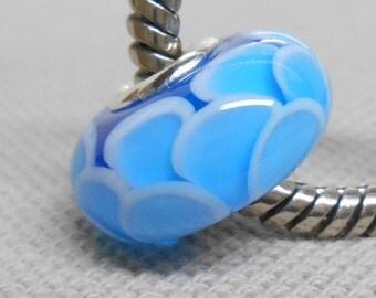 Transparent Blue Scales Bead, Handmade Lampwork Bead, Silver Cored European Charm Bead