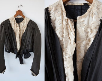 Victorian Antique Jacket in Dark Brown Silk Taffeta with Ivory Lace XS-S