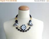 Black white flower gem statement necklace gems jewelry rope necklace