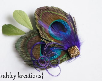 Peacock Feather Bridal Bride Wedding Hairpiece REGENCY GHEA Purple Headpiece Fascinator Gold Rhinestone Bridesmaid Prom Clip Customizable