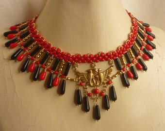 Egyptian Style Collar with Red, Black, and Gold