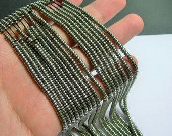 Hematite silver - 3mm heishi - full strand - 215 beads - AA quality - 3mmx2mm - old silver tone - PHG233