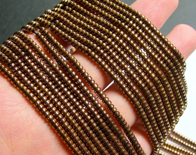 Hematite bronze - 3mm heishi - full strand - 215 beads - AA quality - 3mmx2mm - PHG228