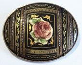 Spanish Toledo Oval Brooch... c.1950s... Pink Rose
