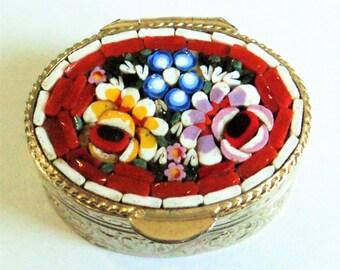 Micro Mosaic Pill Box... c.1960s Italian... Red Roses