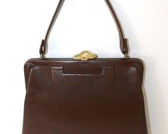 40% OFF SALE 1950s Brown Handbag . Vintage 50s 60s Vinyl Tall Classic Retro Purse