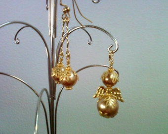 Gold Pearl Angel Pendant and matching Earrings (0132)
