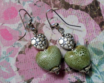 Light Green and Silver Ceramic Heart Earrings (2438)