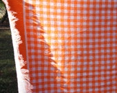 """Vintage orange checked bath towel with fringed edges 41 1/2 by 21"""""""