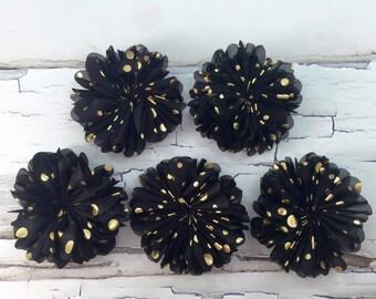 Set of 5-Foil Blossom Flower, Chiffon Blossom Flower, Black and Gold Dot Flower, Black and Gold Foil Flower