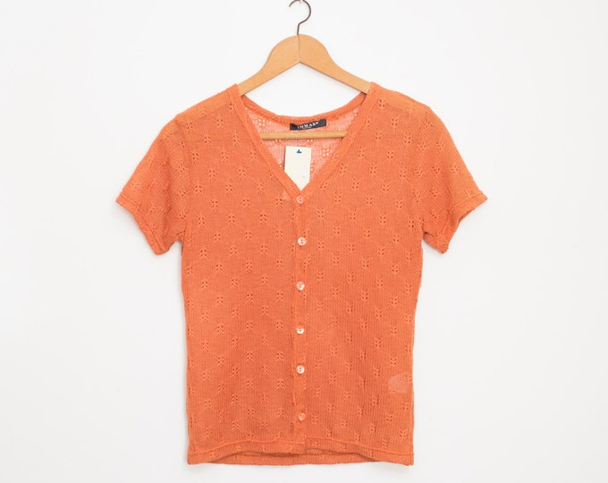 NOS vintage 90s knit sweater orange