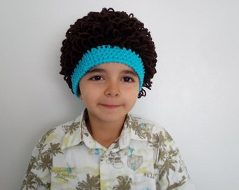 Baby boy Cabbage Patch wig,Halloween costume,Cabbage patch costumeDark Brown and blue,cabbage patch hat,Halloween costume pageant Hair