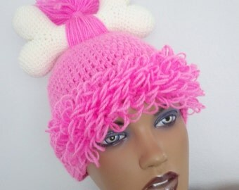 Hot pink Crochet Flintstone Inspired Pebbles  Wig Hat,Hot pink Hair Beanie with Swirl Bun,Baby Girl Halloween Costume