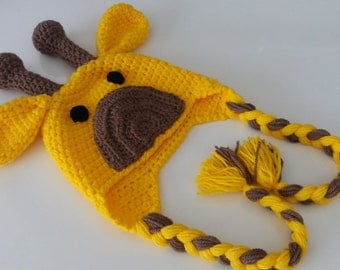 Giraffe Hat with Ear Flaps - Photography Prop - for newborn and children-boy halloween costume