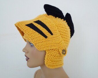 Crochet UCF Knight Hat-Knight Hat with Movable and Detachable Face Mask-for fantasy and adventure play-Medieval knight helmet hat