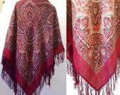 French old Provencal wool paisley SHAWL fringe