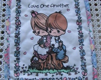 Precious Moments Love One Another Fabric Pot Holder Hot Pad Vintage 1990 Samuel J. Butcher Co., SWEET