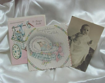 Vintage Paper Ephemera Congratulations Baby Cards Photo Scrapbooking
