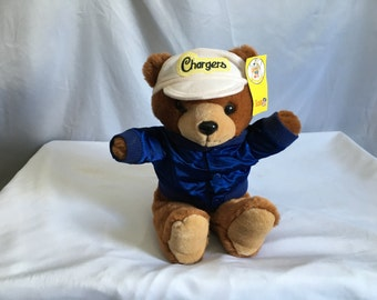 Vintage 90's San Diego Chargers Football Coach Teddy Bear with Lettermen's Jacket and Ballcap by Team NFL™