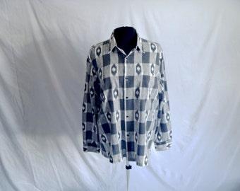 Vintage 80's Southwestern Buffalo Plaid Monochrome Button-Down Shirt Size Large by Triumph of California