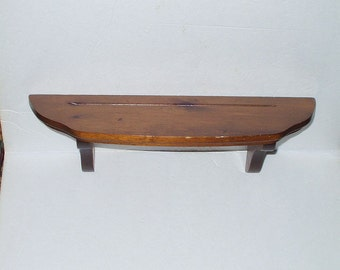 Vintage Stained Pine Wood Wall Shelf 80s Wooden Shelf with Beveled Edges and Plate Groove