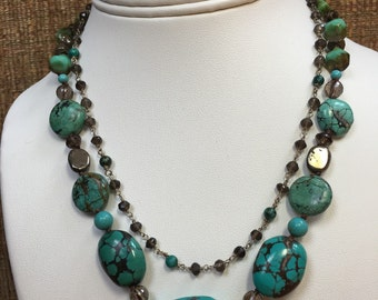 Double Strand Turquoise and Smoky Quartz Necklace