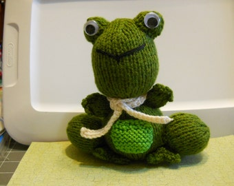 Frog Knitted Stuffed Animal with Cream Scarf, Child's Stuffed Frog Toy, Amigurumi Toy Frog,Child's Frog Gift for Christmas