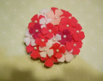 Felt Hydrangea Pin, Pink Hydrangea Brooch, Felt Fashion Flower, Felt Flower Accessories,Felt Decoration