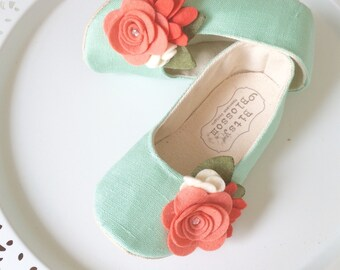 Baby Girl Shoes Toddler Girl Shoes Infant Shoes Soft Sole Shoes Summer Shoes Spring Shoes Mint Blue Shoes Coral Shoes Flower Girl Shoes- Ada