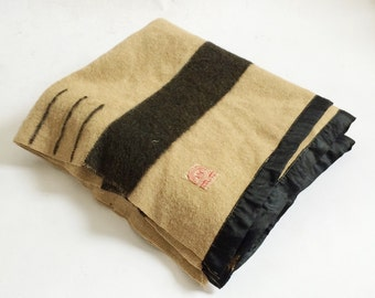 Vintage Hudsons Bay Camel Black 3.5 Point Blanket- RARE Black Stripe, Circa 1920s