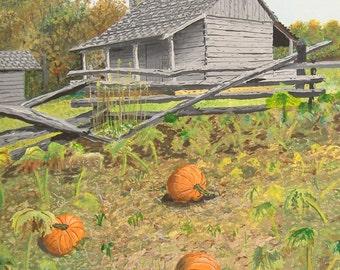 Original painting, log cabin, split rail fence, pumpkins, fall, farm