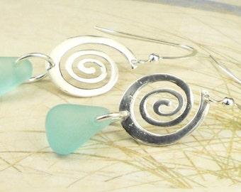 Beach Earrings, Dangle Earrings, Sterling Silver Spiral Earrings, GENUINE Rare Turquoise Sea Glass Earrings, Eco Friendly Earrings, Gift