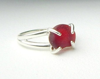 GENUINE Sea Glass Ring, Sterling Silver Red Sea Glass, Beach Ring, Seaglass Ring, Beach Jewelry, Gift For Wife, Solitaire Ring, Gift For Her