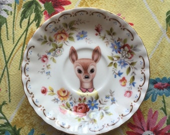 Little Doe with Tiny Rose Floral Vintage Illustrated Plate