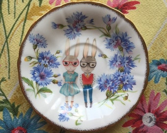 Hipster Bunny with Tiny Blue Floral Vintage Illustrated Plate